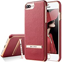 Case+Film+Stylus+Wrap+Cap Hard Snap on Cover Fits Apple iPhone 6/6S/7/7S/8 Shockproof PU Leather Ultra Thin with Stand Wallet, Built-in Metal Plate for Magnetic Holder Red/Gold