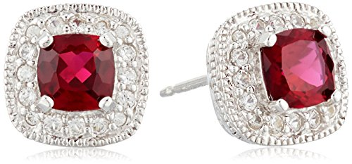 Sterling Cushion Birthstone Sapphire Earrings