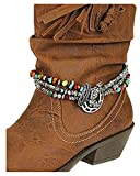 V G S Eternity Fashions Boot Chain ~ Horseshoe Metal and Color Beads Boot Charm Anklet (Boot Charm 82546BTMU-S)