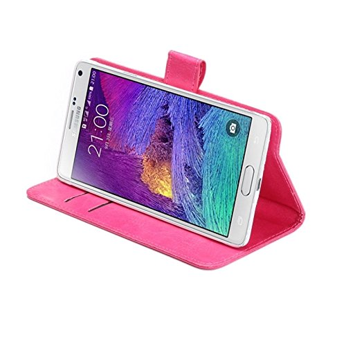 Wkae Case & Cover 5.3-5.5 pulgadas universal loco textura caballo de 360 grados de rotación lleva la caja con el soporte y las ranuras para tarjeta para Samsung Galaxy Note I / II / III / IV ( Color Magenta