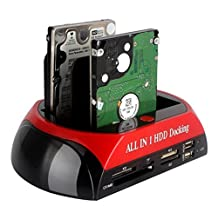 """All In One HDD Docking, Tumao 2.5""""/3.5"""" IDE SATA HDD Docking Dock Station + One Touch Backup + Card Reader Hub"""