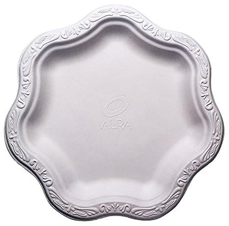[100 COUNT] 9\u0026quot; inch Disposable Floral Medium Premium White Plates Acanthus Collection Natural  sc 1 st  Amazon.com & Amazon.com: [100 COUNT] 9\