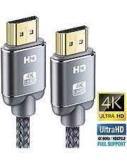 Cable HDMI 4K 4.5m-Snowkids HDMI 2.0 Trenzado de Nylon Compatible con Ethernet/3D/Retorno de Audio-Cable HDMI de Alta Velocidad para BLU-Ray/Xbox/Xbox 360/PS4 Reproductor/4KTV Ultra HD/Pantalla-Gris