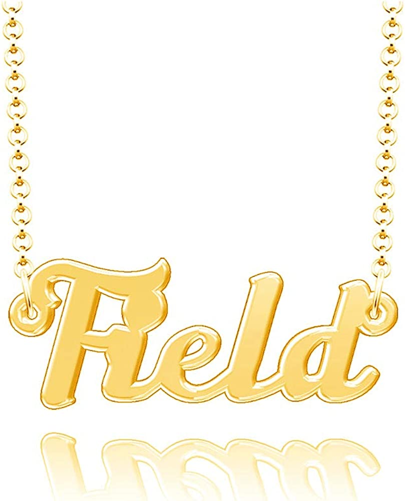 LoEnMe Jewelry Field Name Necklace Stainless Steel Plated Custom Made of Last Name Personalized Gift for Family