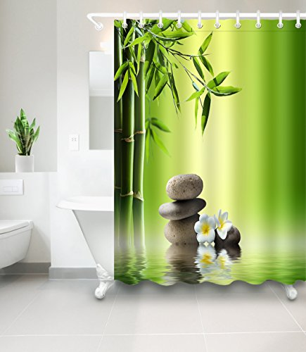 LB Green Bamboo Zen Flower Rocks Artistic Shower Curtain for Bathroom, Relaxing Meditation Spa Scenery, Mildew Resistant Waterproof Fabric Decorative Curtain, 70 x 70 Inch by LB
