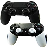 Pandaren Soft Silicone Thicker Half Skin Cover for PS4 Controller Set (skin X 2 + Thumb Grip X 4)(Black, White)