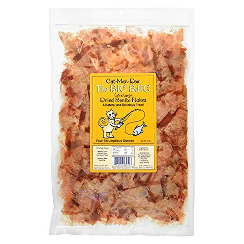 - Cat-Man-Doo Extra Large Dried Bonito Flakes Treats for Dogs & Cats - All Natural High Protein Flakes - 4oz. / 112g Bag