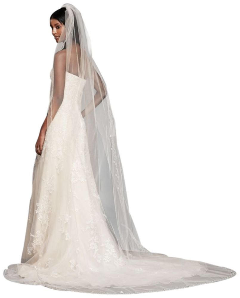 Floral Beaded Scallop Edge Cathedral Veil Style 689L, White