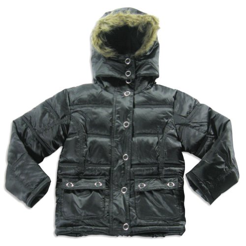 Freezone - Little Girls' Hooded Winter Jacket, Black 20830-4