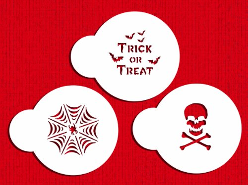 (Designer Stencils C798 Mini Trick or Treat Stencil Set, (Spider Web, Skull and Bones, and Trick or Treat) Beige/semi-transparent)