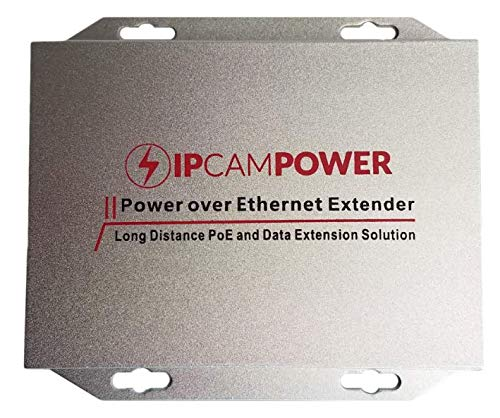 IPCamPower Gigabit Rated POE Powered 2 Port Switch & Network Cat5 Cat6 Midspan Cable Range Extender Passthrough Repeater for IP Cameras - Two Port Network