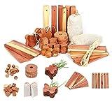 Wahdawn Natural Closet Moth Repellent Mildew Protection Cedar Set 40pcs - Balls, Hangups, Sachets and Blocks