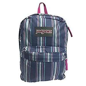 JanSport Super FX Backpack White Multi Denim Stripe