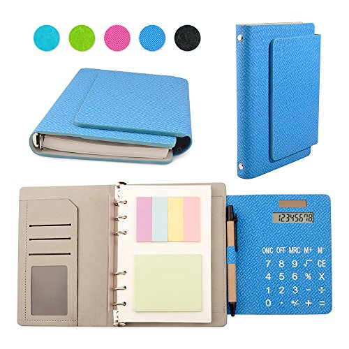 Leather Spiral Presentation Book (Woven Pattern Leather 6 Ring Binder Office Business Notebook Multifunction Diary Memo Books with Calculator and Sticky notes in 7