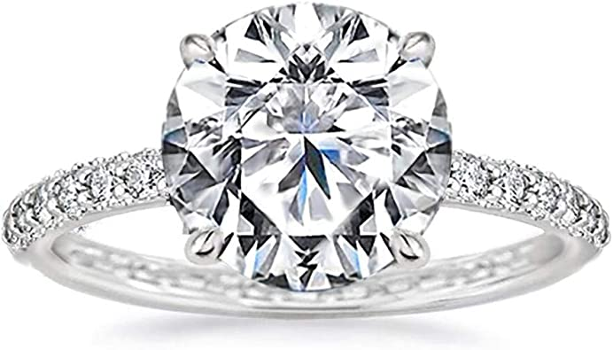 Samie Collection 4 3 Carat Round Brilliant Simulated Diamond Solitaire Engagement Ring For Women Micro Pave Wedding Band Ring White Gold Finish Size 5 10 Amazon Com
