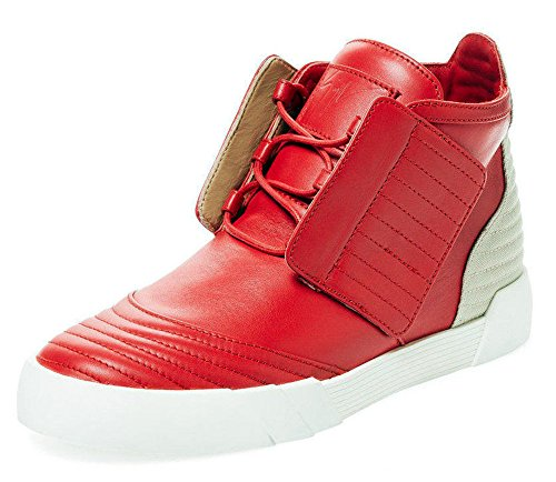 Giuseppe Zanotti Flame Red Kalfsleer Jeti Paneled High-top Sneaker (14 Us)