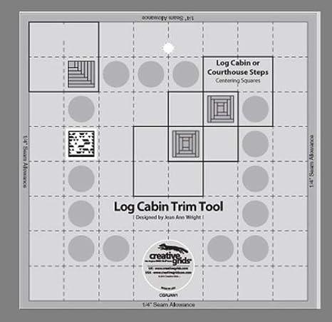 "Creative Grids Log Cabin Trim Tool for 8/"" Blocks Free Log Cabin Star Pattern"