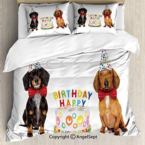 AngelSept Lightweight Coverlet 3 Piece with 2 Pillow Shams,Couple of Bow Tied Sausage Dogs with Happy Birthday Cake and Party Cone Hats Multicolor,Cover with Zipper Closure,Double Size]()