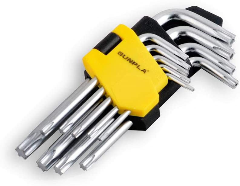 Gunpla Torx Hex Key Allen Star Short Arm Wrench Hex Keys Security Torx End Holes Set of 9 Pieces with Storage Case T10-T50 for Home Maintenance DIY