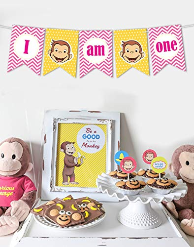 Ideas from Boston-Curious George Birthday Party Supplies, Banner Party Backdrop Decoration, George Happy 1st birthday, Monkey birthday banner, I am one George banner]()