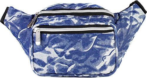 SoJourner Retro Denim Fanny Pack - 80s Vintage Packs for men, women | Cute 90s Waist Bag Fashion Belt -