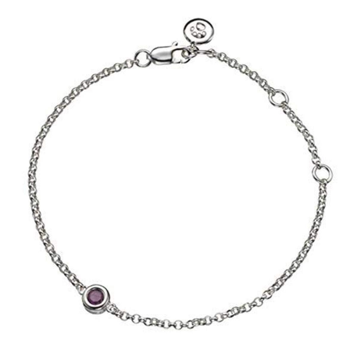 Molly B London | 925 Sterling Silver Girl's July Ruby Birthstone Bracelet