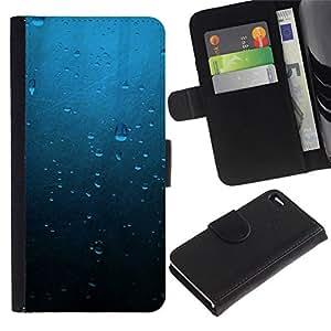 NEECELL GIFT forCITY // Billetera de cuero Caso Cubierta de protección Carcasa / Leather Wallet Case for Apple Iphone 4 / 4S // Gotas de agua azul