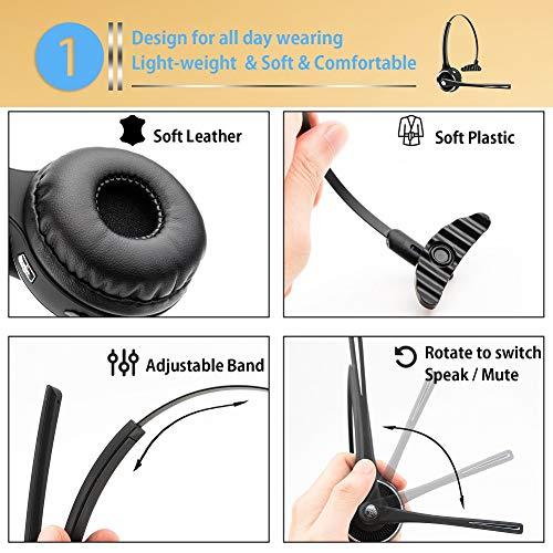 DIGMALL - Auriculares Bluetooth con micrófono HD y música estéreo, Auriculares inalámbricos de Oficina, Auriculares para la Cabeza, Auriculares Bluetooth ...