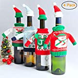 She-love 2pcs Wine Bottle Cover Bag Knitted Sweater Hat Gift Bag Christmas Xmas Decor Set (4 Pack)
