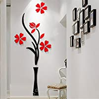 Auveach 3D DIY Cute Flower Home Room Decor Wall Sticker Removable Acrylic Decal Mural 40*100CM