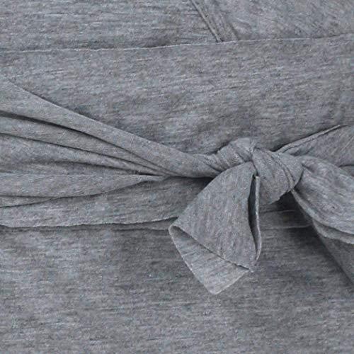 Lacets Automne Causale Top Jumper Manches Chemise Zhrui Shirts Femmes Solide En Coton Gris Slim Vintage Tee Blouse Tunique Basique Crop À V Sexy Col Fit Longues 6Pxx5q