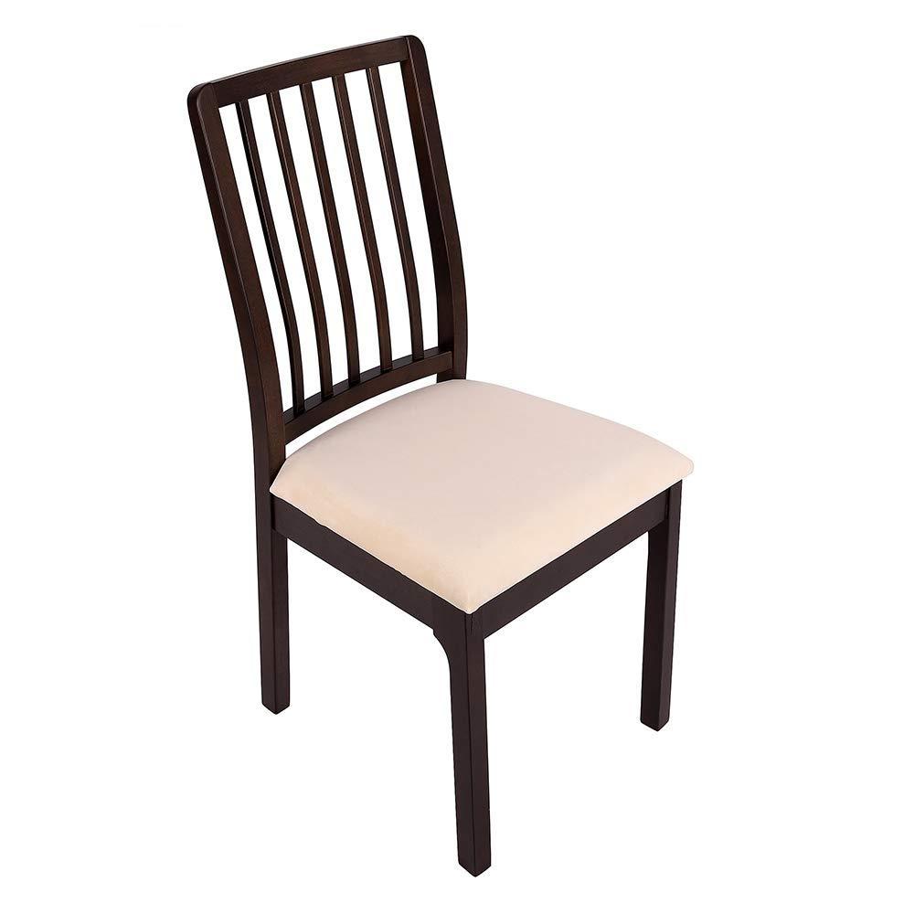 ダイニングルーム椅子シートカバー ソフトベルベット ストレッチフィットダイニング張り椅子シートクッションカバー 取り外し可能洗濯可能家具プロテクター ひも付きスリップカバー ベージュ  ベージュ B07S511WF9