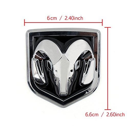 Areyourshop Head Grill Emblem Badge Sticker Decal Chromed Metal For Dodge Ram 6 x6.6CM(2.40x2.60Inch), Black