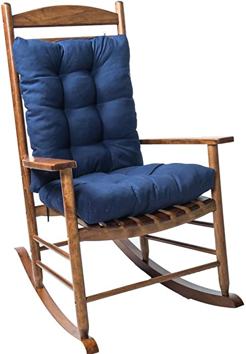 Tonner Rocking Chair Cushion Pad, 2 Pieces Indoor/Outdoor Rocking Chair Cushions Set Indoor/Outdoor Soft Thickened Patio Chaise Lounger Cushion Overstuffed Patio Chair Cushion (Navy Blue)