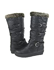 Comfy Moda Women's Winter Boots Virginia in Black & Brown & Tan Size 6-12