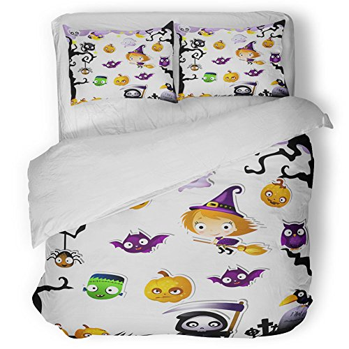 Halloween Duvet Cover Set Queen Size,Halloween Icons Collection Cartoon Witch Pumpkin Grim Reaper Bat Cute Theme for Kids,3 Piece Bedding with 2 Pillow Cases,White Hypoallergenic Quilts Cover Set ()