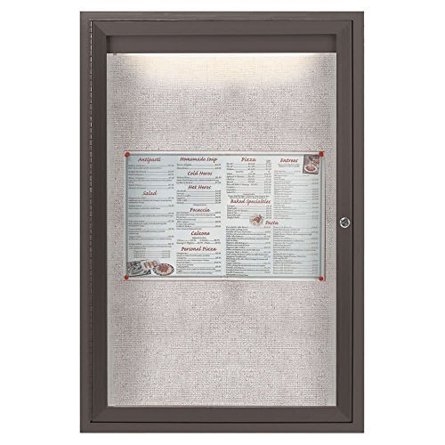 TableTop King LODCC3624RBA 36'' x 24'' Bronze Enclosed Aluminum Indoor / Outdoor Bulletin Board with LED Lighting by TableTop King