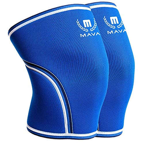 Mava Sports Pair of Knee Compression Sleeves Neoprene 7mm for Men & Women for Cross Training WOD, Squats, Gym Workout, Powerlifting, Weightlifting (Blue, Medium)