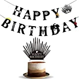 GOT Game of Thrones Banner Happy Birthday Crown Cake Topper Party Supplies Decorations