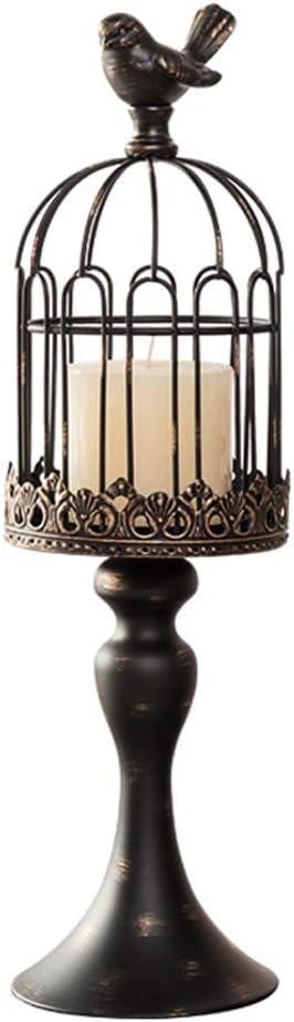 MYBA Portavelas vintage con forma de jaula de pájaros, para bodas, centros de mesa de hierro, para decoración del hogar (color: negro, tamaño: L)