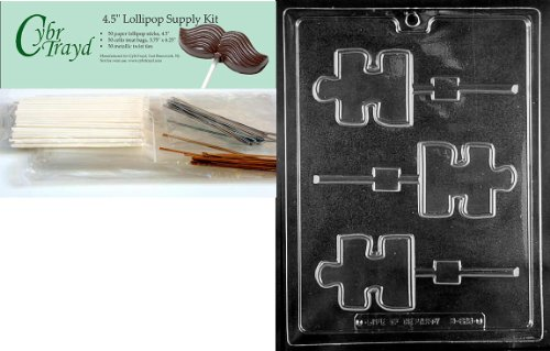 Cybrtrayd Puzzle Piece Lolly Autism Awar Miscellaneous Chocolate Candy Mold with Lollipop Supply Bundle of 50 Lollipop Sticks, 50 Cello Bags, 25 Gold and 25 Silver Twist Ties and Instructions