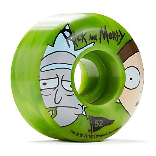 クモピーブドレインプリミティブX Rick and Morty Swirlスケートボードホイール – グリーン – 52 mm