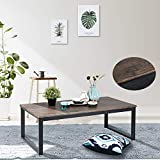 Cheap Aingoo Rustic Coffee Table Large Sofa Table Mid-Century Rectangle with Metal Frame Dark Brown Wooden Grain CT-01