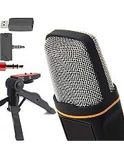 ZaxSound SF666PRO - Micrófono y trípode de condensador de cardioide profesional para PC, portátil, iPhone, iPad, teléfonos Android, tabletas, xBox y YouTube de 6 pulgadas, color negro