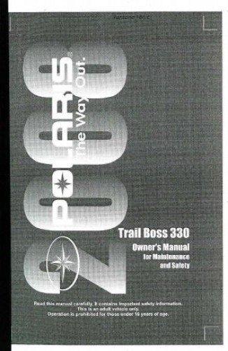 - 9921305 2008 Polaris Trail Boss 330 ATV Owners Manual
