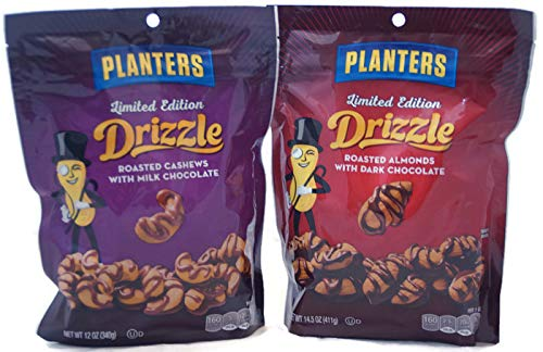 Milk Chocolate Drizzle - Variety Pack - Limited Edition Planters DRIZZLE - Roasted Almonds with Dark Chocolate 14.5 oz & Roasted Cashew with Milk Chocolate 12 oz