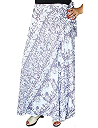 Maple Clothing Printed Rayon Long Wrap Skirt Womens India Clothes