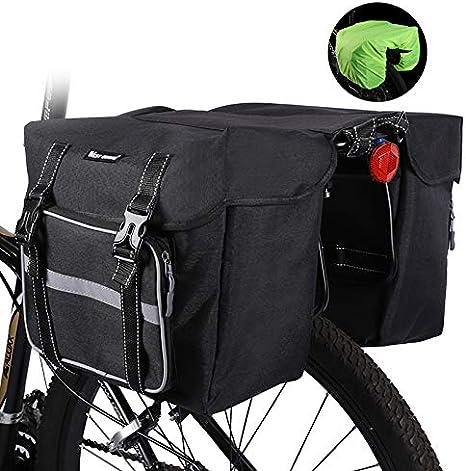 Cubierta de bolsa para maletas de bicicleta, bolsa de asiento de bastidor de carga trasera para bicicleta de gran capacidad, accesorios de ciclismo para bicicleta de montaña y carretera,Negro: Amazon.es: Deportes y