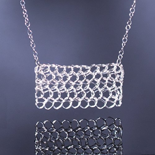 Sterling Silver Rectangle Filigree Bar Necklace Handmade Wire Crochet Jewelry