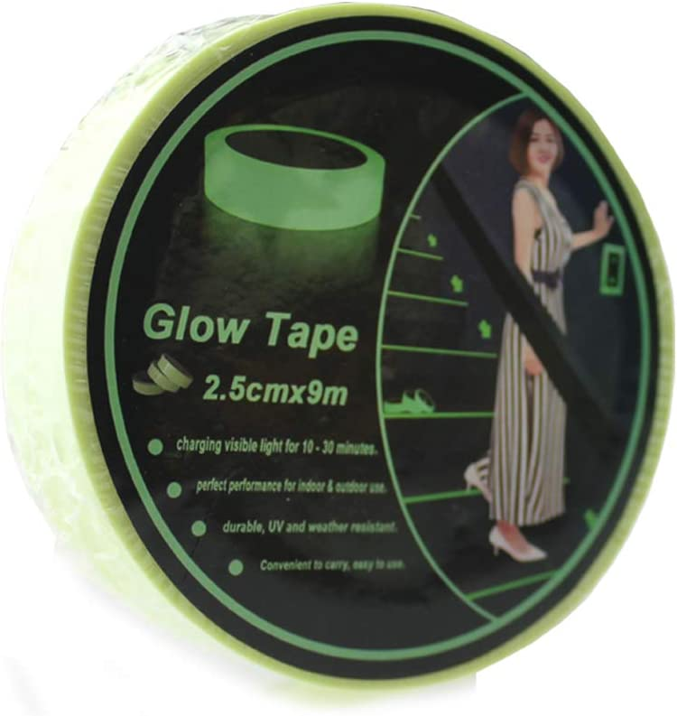 Wall Stairs Steps Glow in Dark Safety Duct Fluorescent Tape for Home Office Hylaea Green Glow in The Dark Tape 30 feet Length x 1 Inch Width Removable Photoluminescent Luminous Tape Sticker